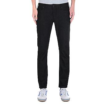 Emporio Armani solid Black Tapered Fit 11OZ Jeans