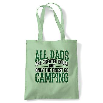 Finest Dads Go Camping Tote - France Camp Tent Glamping Outdoors Campfire Wood Rough (fr) Reusable Shopping Cotton Canvas Long Handled Natural Shopper Eco-Friendly Mode