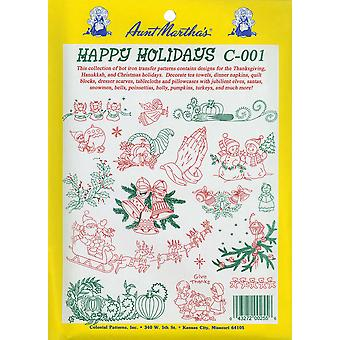 Aunt Martha's Iron On Transfer Collections Happy Holidays Tpc C001