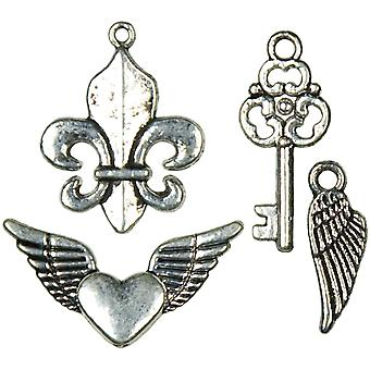 Jewelry Basics Metal Charms Silver Mixed Shape 12 Pkg Jbcharm 8311