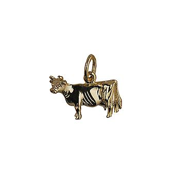 9ct Gold 11x16mm Cow Pendant or Charm