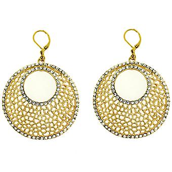 Kenneth Jay Lane Gold Round Filigree & Crystal Chandelier Clip On Earrings