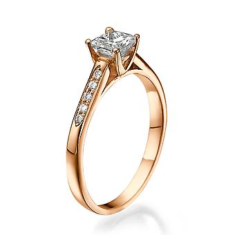 1/2 Carat H VS1 Diamond Engagement Ring 14k Rose Gold Princess Cut Vintage Ring Designer Ring
