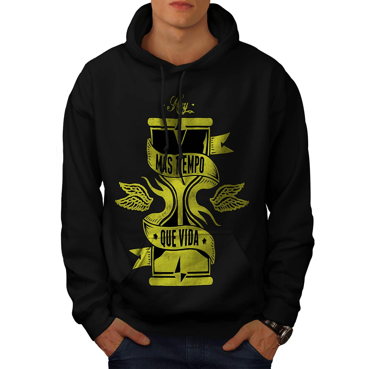 Longer Than Life Crew Spain Gang Men Black Hoodie | Wellcoda