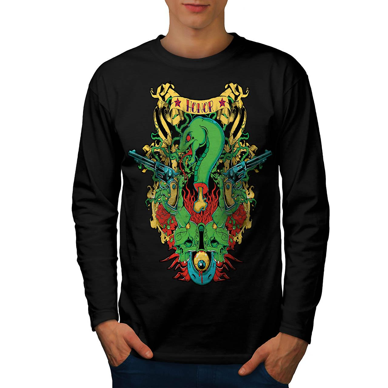 Dragon Death Honour Snake Myth Men Black Long Sleeve T-shirt | Wellcoda