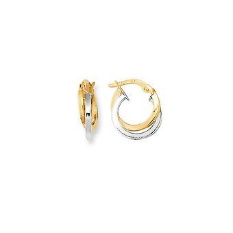 14 k zweifarbig Gold schicken drei-Kreis-Creolen
