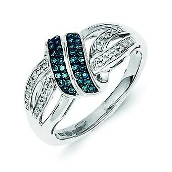 Sterling Silver White and Blue Diamond Ring - Ring Size: 6 to 8