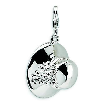 Sterling Silver 3-D Enameled Hat With Lobster Clasp Charm - 5.7 Grams - Measures 31x18mm
