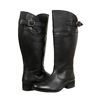 Black Knee High Leather Riding Boots With XL Calf Fitting In EEE Fit