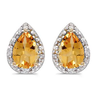10k Yellow Gold Pear Citrine And Diamond Earrings