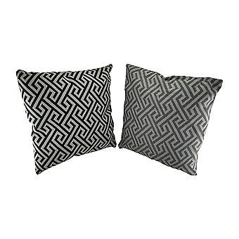 2 Pc. Black and Gray Maze Pattern Throw Pillow Set