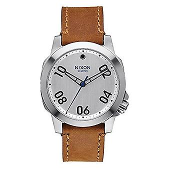Nixon Ranger 40 Leather Silver / Saddle Stainless Steel Analog watch