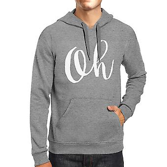 Oh Calligraphy Typography Heather Gray Hoodie Pullover Fleece