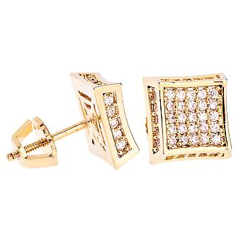 Iced out bling micro pave earrings - SIDE KITE 10 mm gold