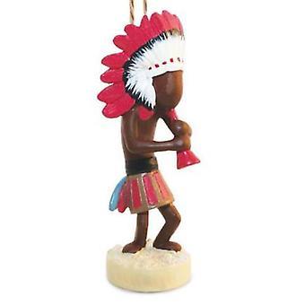 Southwestern Kokopelli Blowing Horn Christmas Holiday Ornament Resin