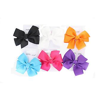 Set Of 6 Children's Girls Baby Small Boutique Dance School Fashion Hair Bow 8Cm
