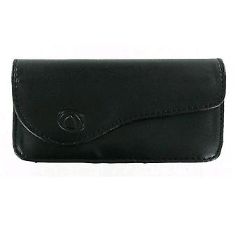 Technocel - Universal Medium Horizontal Leather Pouch with Magnetic Closure - Bl