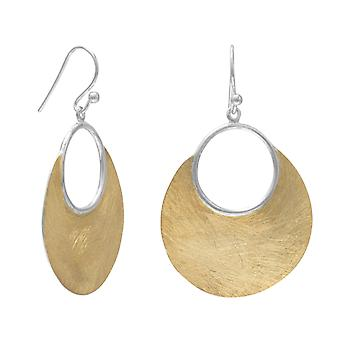 Brushed 14 Karat Gold-Flashed Sterling Silver Open Design French Wire Earrings