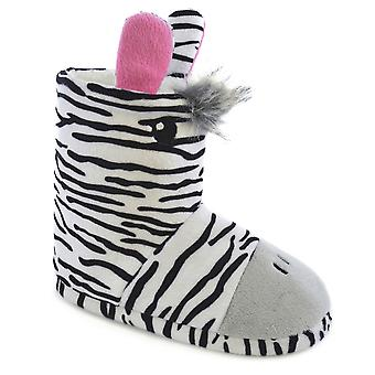 SlumberzzZ Kids Girls Novelty Zebra And Giraff Design Warm Bootee Slippers
