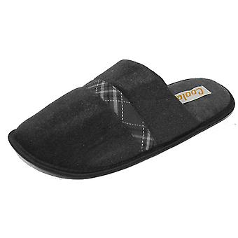 Coolers Mens Plaid Check Strip Design Lined Mule Slippers - Black - 9-10 UK
