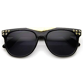Spiked Accented Super Retro Flat Top Dark Lens Horn Rimmed Glasses