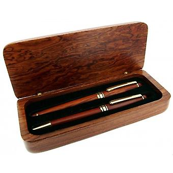 Gift Time Products Deluxe Box with Standard Pen and Roller Pen - Dark Brown/Gold