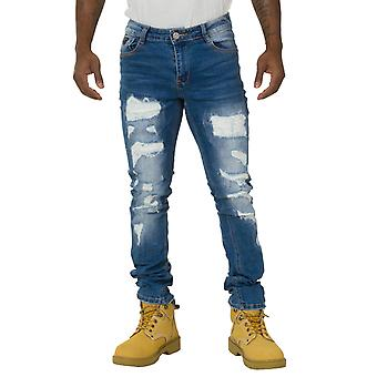 Men's Slim Fit Destroyed and Patched Jeans Stonewash Denim with stretch