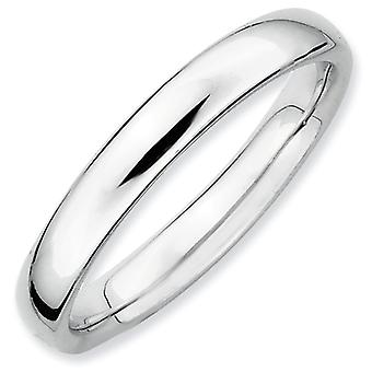 Sterling Silver Stackable Expressions Rhodium Polished Ring - Ring Size: 5 to 10