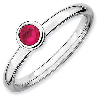 Sterling Silver Bezel Polished Rhodium-plated Stackable Expressions Low 4mm Round Cr. Ruby Ring - Ring Size: 6 to 10