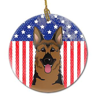 American Flag and German Shepherd Ceramic Ornament
