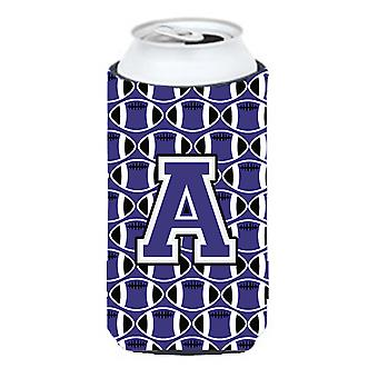 Letter A Football Purple and White Tall Boy Beverage Insulator Hugger