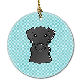 Carolines Schätze BB1173CO1 Schachbrett blau schwarzer Labrador keramischen Ornament