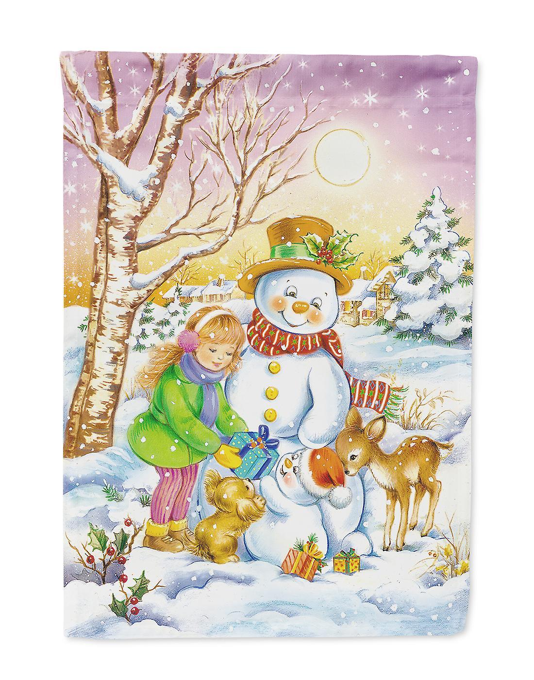 Fille et animaux avec bonhomme de neige drapeau Taille maison du canevas