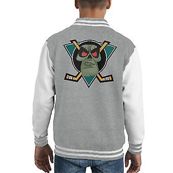 Monkey Island LeChuck Mighty Ducks Logo Kid's Varsity Jacket
