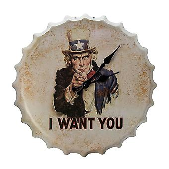 'I Want You' Retro Style Metal Bottle Cap Wall Clock - Off White