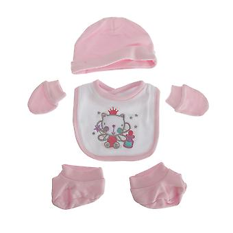 Nuresery Time Baby Girls 4 Piece Cat Design Gift Set