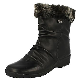 Ladies Remonte Fur Topped Ankle Boots D0593