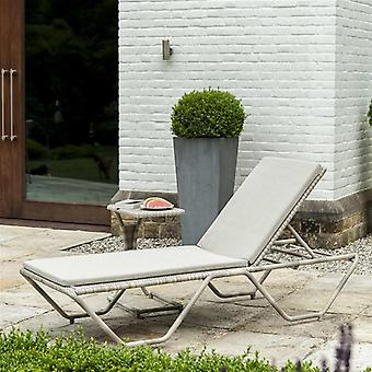 Alexander Rose Ocean Pearl Rattan Stacking Sleigh Sunbed with Cushion