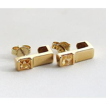 Yellow gold earrings with citrine