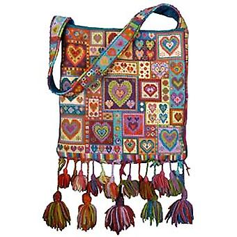 Little Heart Patchwork Bag Needlepoint Canvas