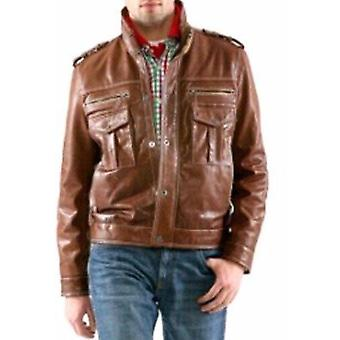 Mens Brown 4 Button Premium Leather Coat
