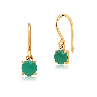 Amour Damier 9ct Yellow Gold 0.72ct Claw Set Emerald Drop Earrings by Gemondo