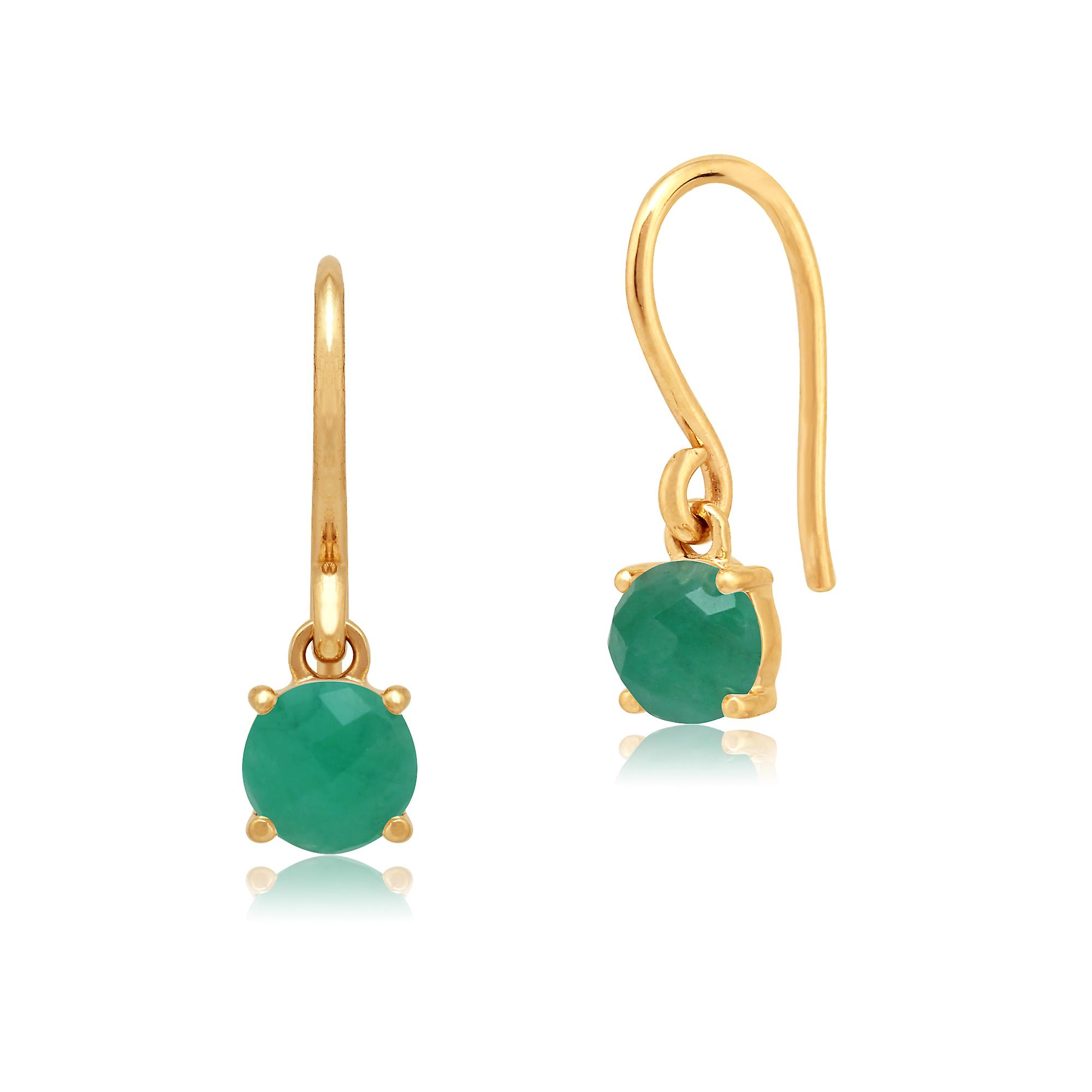 Amour Damier 9ct jaune or 0.72ct Claw Set Emerald Drop Earrings by Gemondo