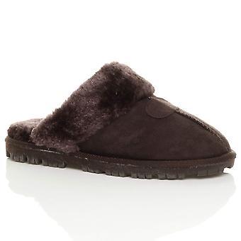 Pele de carneiro do falso Ajvani womens plana inverno forrado de deslizamento nos sapatos de chinelos de mulas de luxo
