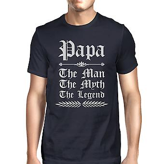 Vintage Gothic Papa Mens Navy Round Neck Comic T T-Shirt For Parents