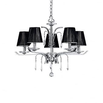 Ideal Lux Academy Polished Chrome 5 Arm Chandelier With Crystal Drops