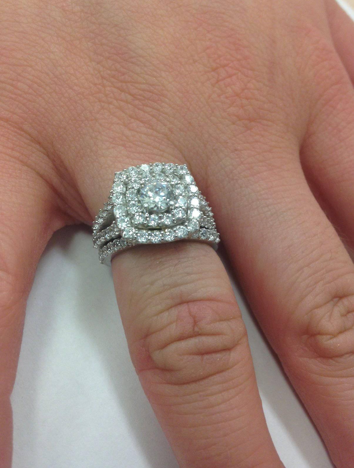2 Cttw Diamond Cushion Double Halo Engagement Wedding Ring Set 10k