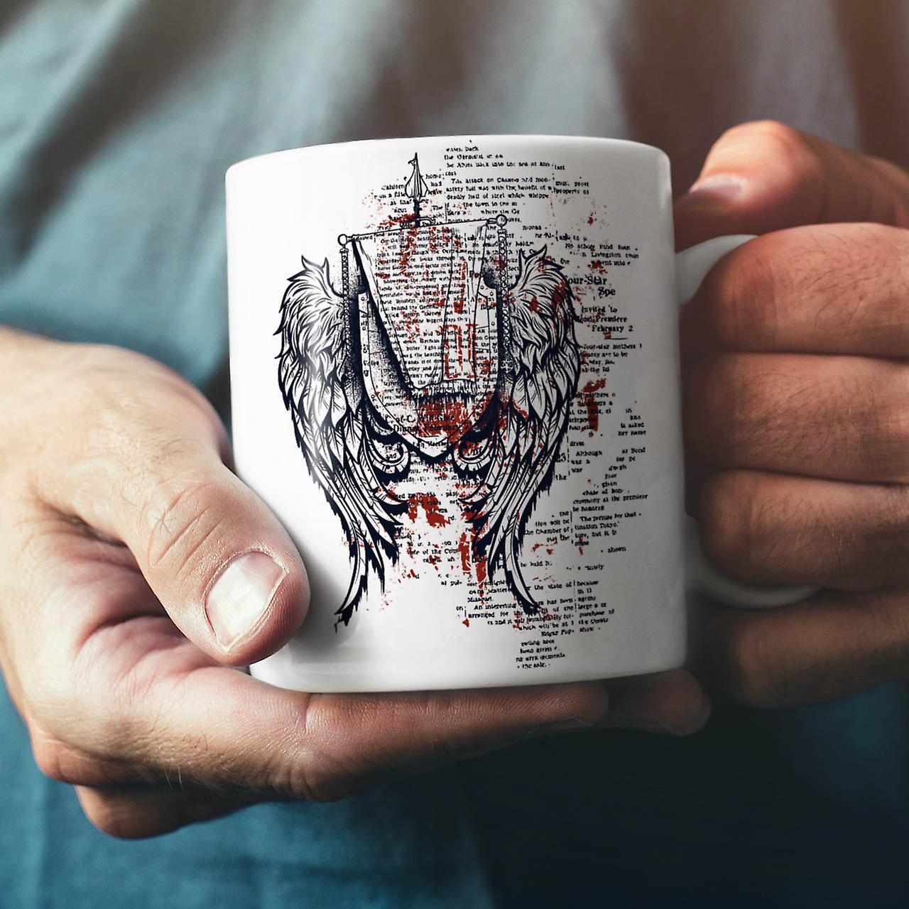 Wings Urban Cool Fashion NEW White Tea Coffee Ceramic Mug 11 oz | Wellcoda