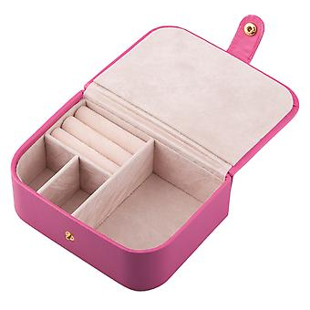 TRIXES Pink Faux Leather Small Portable Jewellery Box