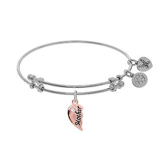 Mother And Daughter Matching Heart Charm Expandable Bangle Bracelet, 7.25